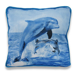 Zeckos - Beautiful Jumping Dolphins 14 In. x 14 In. Throw Pillow - This beautiful plush polyester throw pillow features a print of a family of dolphins frolicking in the ocean. The pillow measures 14 inches by 14 inches, and both the cover and interior fill are 100% polyester. It's a pretty accent to add to your couch or your bed, and makes a great gift for sealife enthusiasts and dolphin lovers.