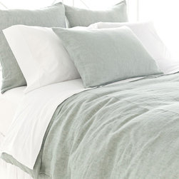 Pine Cone Hill - Pine Cone Hill Chambray Linen Ocean Duvet Cover - Pine Cone Hill Chambray Linen Ocean Duvet CoverKeep it pure and colorful with Pine Cone Hill's Chambray Linen Ocean Duvet Cover. Crafted from fine linen fabric, this classic duvet cover has a clean look that you can pair with prints or neutrals. It's saturated in a sea-green hue that feels airy and light. Use it as a simple staple in a beachy coastal cottage, a transitional living room, or a contemporary bedroom.Hidden-button closureAvailable in three sizes