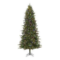 """Vickerman - Virginia ColorChanging 480LED (7.5' x 44"""") - 7.5' x 44"""" Slim Virginia Pine, 1414 tips, UL 480 LED Multi or Warm White Color Changing Italian Lights with Brightness Setting, on/off switch step, In Folding metal stand. 39%PE, 61%PVC, Thickness"""