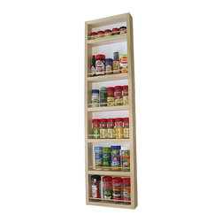 None - WG Wood Products Solid Wood Six-Shelf Surface Mounted Kitchen Spice Rack - This wall or door mounted spice rack comes with a white posterboard backing and easy to mount screws.  The natural pine finish can be painted or stained.