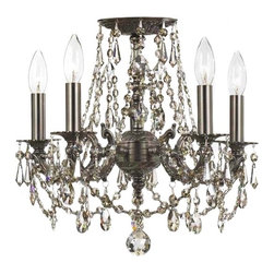 """Crystorama - Crystorama Regis Crystal and Pewter Ceiling Light - Add a romantic sparkle with this beautiful crystal light design by Crystorama. the design features a candelabra style look draped with hand-cut crystals for a jewel-like look. Additional crystal hangs from for bottom of the fixture. Frame and canopy are in a classic pewter finish. Semi-flushmount style light. Pewter finish. Hand-cut crystal """"jewels"""". Takes five 60 watt candelabra bulbs (not included). 16"""" wide. 14"""" high.  Pewter finish.   Hand-cut crystal """"jewels"""".   Semi-flushmount style.  From the Crystorama lighting collection.  Takes five 60 watt candelabra bulbs (not included).   16"""" wide.   14"""" high."""