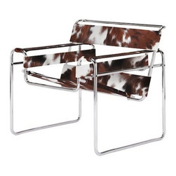 n/a - Wassily Chair Cowhide - Wassily is a gorgeous chair, brilliantly conceived and executed, with a prominent place in 20th century design. This reproduction Wassily Chair is constructed of tubular steel with a polished chrome finish, and thick cowhide leather slings. Marcel Breuer was one of the masters of Modernism, and his prolific designs are as timeless as they are minimalist.
