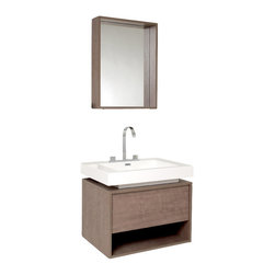 Fresca - Potenza Gray Oak Vanity w/ Pop Open Drawer Fortore Chrome Faucet - Intriguing geometric design is tied together perfectly for this vanity, which includes a beautiful widespread chrome faucet and a matching mirror.  Really great for anyone looking to outfit their space with something classy in a wood finish, fitting in anywhere with little fuss with understated elegance.