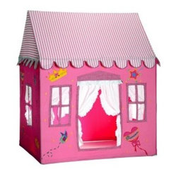 Dexton Fengi Princess Cloth Playhouse - Complete with ruffled curtain entrance and candy-striped roof, this pink fabric playhouse looks good enough to eat.