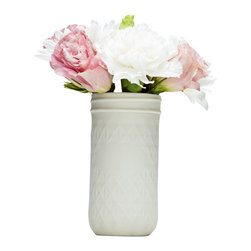 Porcelain Quilted Jelly Jar, Solid White - Porcelain slip casts from a handmade mold of quilted jelly jars make an adorable assortment of wedding centerpieces. Both clustered and alone, they are a timeless addition to your wedding tables. Available in unglazed porcelain, or painted with grey chalkboard paint, please specify preference at checkout.