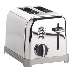 "Cuisinart® Classic 2-Slice Toaster - Modern function with a retro, commercial look for your kitchen counter. Features include six-setting browning dials, 1�""-wide slots, lift-lever for small items, slide-out crumb tray, defrost and bagel buttons with LED indicators."