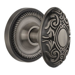Nostalgic - Nostalgic Mortise-Rope Rose-Victorian Knob-Antique Pewter (NW-702546) - Rope Rose with Victorian Knob - Mortise