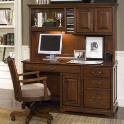Riverside Furniture - Cantata 3-Pc Office Set - Includes computer desk, storage hutch and chair. Dovetail joinery drawer construction. Mounted on ball-bearing extension guides. Wiring access hole and open ventilation slots. CPSC HR-4040 certified. Made from poplar hardwood solid and cherry and birch veneers. Burnished cherry finish. Computer desk:. One pull-out writing shelf above right-hand drawers. Two storage drawers. Top drawer with felt-lined bottom and pencil tray. One locking file drawer. Accommodates both letter and legal file folders. Knee drawer can be utilized as keyboard and mouse work area. Two outlet powerbar mounted in the back. One center door encloses CPU storage area. One fixed bottom and adjustable shelf. Sliding back panel for wiring access and ventilation. One fixed bottom shelf in kneehole area. 58 in. W x 24 in. D x 30 in. H (199 lbs.). Storage hutch:. Two right hand doors. One adjustable center shelf. One fixed bottom panel. Center section with full-length CD rack with dividers. One fixed shelf on left hand side with light mounted underneath to illuminate work area. 59.25 in. W x 12.25 in. D x 36.75 in. H (86 lbs.). Desk chair:. Upholstered and padded seat cushion. Gas lift height adjustment handle. Swivel and five-prong tilt base with rocker tension adjustment knob. Casters for convenient mobility. Made from hardwood solid and 35% polyester fabric and 65% viscose. Adjustable seat height from floor: 19 in. - 23 in.. Adjustable arm height from floor: 25.25 in. - 29.25 in.. Overall: 23 in. W x 22 in. D x 38.5 in. H (45 lbs.). Computer Desk Assembly Instructions. Hutch Assembly Instructions. Chair Assembly Instructions