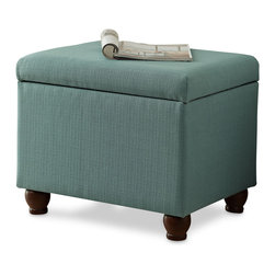 Kinfine - Aqua Textured Medium Storage Bench - Add multi-functional style to your home with this aqua storage ottoman. This statement piece comes in fun fashion patterns and can be used to store magazines, throws, toys, accessories or anything else that is taking up too much space.