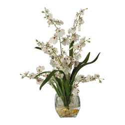 "Nearly Natural - Nearly Natural Dancing Lady Orchid Liquid Illusion Silk Flower Arrangement - With its winding stems and curvy stalks, it's easy to see why this member of the Orchid family is called the ��_Dancing Lady"". These beautiful and unique Orchids rest snugly in a short oval-shaped glass container, which is filled with artificial water and an abundant supply of river rock to compliment its appeal. This extraordinary arrangement is the perfect way to spice up any room or office space."