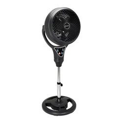 """New Air - 12"""" 2-in-1 Tabletop and Pedestal Vorte Fan - Adjustable tilt. Convenient remote control. Powerful vortex motor. Adjustable height. 8 hour timer. Electronic controls. 3 fan speeds. Can be used for commercial or industrial use. . 43 in. L x 16 in. W x 16 in. H (15 lbs)Stay cool with the NewAir AF-410BK 12"""" vortex fan. It's unique space saving design is ideal for any setting and it's low energy draw makes it efficient. Adjust the fan head for targeted cooling and use the remote control to change the settings from  anywhere in the room."""