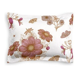 Pink Sketched Floral Print Custom Sham - The Simple Sham may be basic, but it won't be boring!  Layer these luxurious reversible shams in various styles for a bed you'll want to fall right into. We love it in this pink and brown feminine floral that evokes traditional hand sketched botanical drawings.