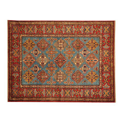 1800-Get-A-Rug - Sky Blue 100% Wool Geometric Super Kazak Hand Knotted Oriental Rug Sh16517 - Our Tribal & Geometric hand knotted rug collection, consists of classic rugs woven with geometric patterns based on traditional tribal motifs. You will find Kazak rugs and flat-woven Kilims with centuries-old classic Turkish, Persian, Caucasian and Armenian patterns. The collection also includes the antique, finely-woven Serapi Heriz, the Mamluk Afghan, and the traditional village Persian rug.