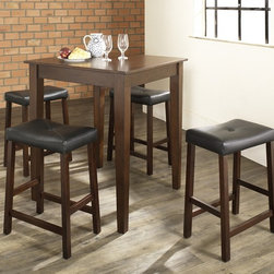 Crosley Furniture - 5 Pc Pub Dining Set w Tapered Leg and Saddle - Includes Pub Table and 4 Stools in Vintage Mahogany. Solid Hardwood & Veneer Construction Table . Solid Hardwood Stools. Hand Rubbed, Multi-Step Finish. Solid Hardwood Tapered Legs. Durable Stain Resistant Faux Leather PVC Seat. Table Dimensions: 36 in. H x 32 in. W x 32 in. D. Stool Height: 24 in. HConstructed of solid hardwood and wood veneers, the 5 piece Pub / High Dining set is built to last. Whether you are looking for dining for four, or just a great addition to the basement or bar area, this set is sure to add a touch of style to any area of your home.
