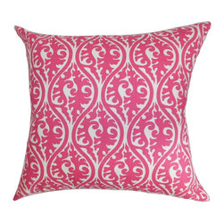 """The Pillow Collection - Mechria Geometric Pillow Candy Pink 18"""" x 18"""" - Adorn your room with this chic and pretty throw pillow. This accent pillow features an elaborate geometric pattern in shades of candy pink and white. Add flair and casual elegance to your bed, sofa or chair with this decor pillow. Combine this square pillow with other patterns from our pillow collection like florals, stripes, toiles and more. Made from 100% soft cotton material. Hidden zipper closure for easy cover removal.  Knife edge finish on all four sides.  Reversible pillow with the same fabric on the back side.  Spot cleaning suggested."""