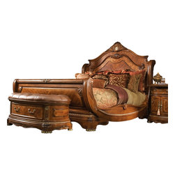 AICO Furniture - Cortina Sleigh Bed by Michael Amini, Queen - A curved wooden headboard and footboard give this sleigh bed a distinctive traditional feel.