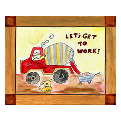 Oh how cute kids by Serena Bowman Designs - Nursery Kids Wall Decor Canvas Cement truck  Let's Go to Work Construction Art, - This adorable and  playful construction scene is a great addition for building the perfect boy room. This whimsical artwork  helps your child's imagination grow! Coordinates perfectly with under construction bedding and accessories.