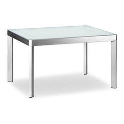 Calligaris - Elasto Metal & Glass Extension Table (35.5 in - Choose Size: 35.5 in. W  x 35.5 in. DAlso comes in a Glossy White finish.  This beautiful, contemporarily styled table has satin steel legs and comes with a natural, red or coffee colored froster glass top.  This sleek contemporary dining table features a unique design that is distinctly modern.  The top is glass, and can be specified as either frosted or coffee tinted.  The frosted glass tabletop looks beautiful with the brushed steel legs and frame. * Toughened glass top and metal frame, is perfect for dining rooms or living areas. It can easily be transformed to a 6 person table by sliding the top sideways and lifting the extension leaf into place. Assembly required. Small:. Expandable to 59.125 in. L. 35.5 in. W x 35.5 in. D x 30.125 in. H. Large:. Expandable to 90.625 in. L. 51.25 in. W x 35.5 in. D x 30.125 in. H