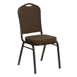 Flash Furniture - Hercules Series Crown Back Stacking Banquet Chair with Brown Patterned Fabric - This is one tough chair that will withstand the rigors of time. With a frame that will hold in excess of 500 lbs., the Hercules Series Banquet Chair is one of the strongest banquet chairs on the market. You can make use of banquet chairs for many kinds of occasions. This banquet chair can be used in Church, Banquet Halls, Wedding Ceremonies, Training Rooms, Conference Meetings, Hotels, Conventions, Schools and any other gathering for practical seating arrangements. The banquet chair is also great for home usage from small to large gatherings. For any environment that you use a banquet chair it will put your guests at a greater comfort level with the padded seat and back. Another advantage is the stacking capability that allows you to move the chairs out of the way when not in use. With offerings of comfort and durability, you can be assured that you can enjoy this elegant stacking banquet chair for years to come.