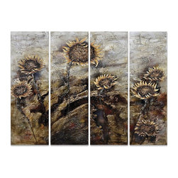 """Yosemite Home Decor - Yosemite Home Decor Revealed Artwork Sunflowers X-5425CCF - Exaggerated contrast leads to a darker, more masculine look to the floral scene in this Yosemite Home Decor artwork. Known as """"Sunflowers,"""" this set of four panels from the Revealed Artwork series pairs bright cheery sunflowers with a dark, dreary day for a stunning appearance."""