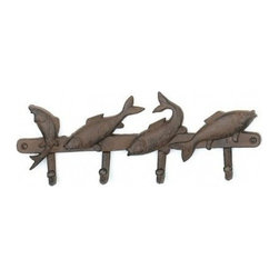"""Handcrafted Model Ships - Rustic Iron Four Fish Key Rack 14"""" - Nautical Fish Key Rack - This Rustic Iron Four Fish Key Rack 14"""" is the perfect addition for any nautical themed home. Handcrafted from cast iron, this Four Fish Key Rack 14"""" is durable, functional and decorative. -Easily mountable, display this decorative key rack to show those who visit your home affinity for the nautical sea-faring lifestyle."""