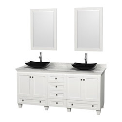 Wyndham Collection - Acclaim Bathroom Vanity in White,White  Carrera Marble,Black Sink,Mirror - Sublimely linking traditional and modern design aesthetics, and part of the exclusive Wyndham Collection Designer Series by Christopher Grubb, the Acclaim Vanity is at home in almost every bathroom decor. This solid oak vanity blends the simple lines of traditional design with modern elements like beautiful overmount sinks and brushed chrome hardware, resulting in a timeless piece of bathroom furniture. The Acclaim is available with a White Carrera or Ivory marble counter, a choice of sinks, and matching mirrors. Featuring soft close door hinges and drawer glides, you'll never hear a noisy door again! Meticulously finished with brushed chrome hardware, the attention to detail on this beautiful vanity is second to none and is sure to be envy of your friends and neighbors