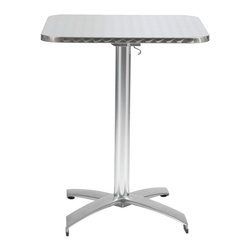 Eurostyle - Eurostyle Arden Square 24x24 Dining Table in Stainless & Aluminum - A hit for the caf? life inside or outside.  The textured stainless top is edge finished for a quality look and the all aluminum base completes the weatherproof construction. And the top easily tilts to a vertical position for great storage-ability. What's included: Dining Table (1).