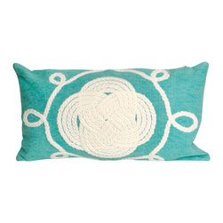 "Trans-Ocean Inc - Ornamental Knot Aqua 12"" x 20"" Indoor Outdoor Pillow - The highly detailed painterly effect is achieved by Liora Mannes patented Lamontage process which combines hand crafted art with cutting edge technology. These pillows are made with 100% polyester microfiber for an extra soft hand, and a 100% Polyester Insert. Liora Manne's pillows are suitable for Indoors or Outdoors, are antimicrobial, have a removable cover with a zipper closure for easy-care, and are handwashable.; Material: 100% Polyester; Primary Color: Aqua;  Secondary color: white; Pattern: Ornamental Knot; Dimensions: 20 inches length x 12 inches width; Construction: Hand Made; Care Instructions: Hand wash with mild detergent. Air dry flat. Do not use a hard bristle brush."