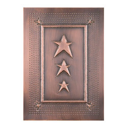 """USA Handcrafted - Four Handcrafted Punched Tin Cabinet Panels Three Star Embossed Pattern, Copper - Our punched panels are handcrafted in Pennsylvania, available in copper or a variety of tin finishes, they are perfect cabinet inserts, and suitable for all of your primitive country decorating needs, Sold in Packs of Four, Each Measures 10"""" wide X 14"""" high"""