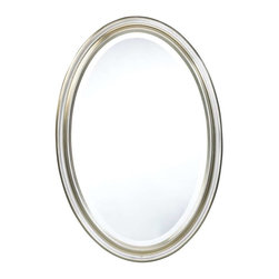 Cooper Classics - Cooper Classics Blake Oval Mirror, Antique Silver - Add simple elegance to any wall with the lovely Blake oval mirror. This beautiful decorative wall mirror features a brushed silver finish and beveled glass that will accent any decor.