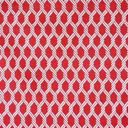 "Small Geometric Lattice 4 Upholstery Fabric, Red - This small scale geometric features a tightly-woven, ribbed texture and is suitable for upholstery, cornice/headboards, and other decorative uses. The fabric is reversible with the color layout being inverted on the ""back"" side."