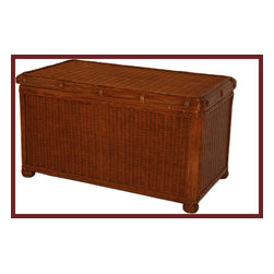 Wicker Trunk: Savannah Brown Large Trunk - Add some fabulous storage to a bedroom or any room with the Savannah Trunk.  This wicker trunk is pretty enough to leave out in full view while it neatly stores blankets, linens, toys or other household items.  This piece would look great at the end of a bed.