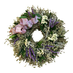Creekside Farms - Floral Lavender Wreath - This fragrant wreath is made with herbs and flowers and accented with a lavender wired ribbon.