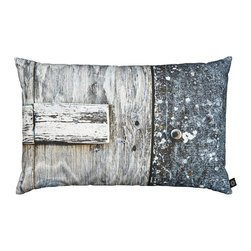 by Nord Copenhagen - Grey/Blue Door Decorative Pillow - The color and detail makes this a standout: This decorative pillow will help add unique contrast to grey/blue/white interiors. A Fishing Lodge photographed from the front and printed as a digital photo print oin the recognized cotton canvas quality from By Nord. Imported from Denmark.