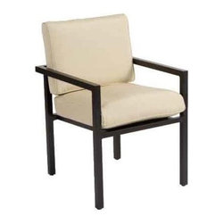 Woodard Salona Dining Arm Chair - Our Slaona Dining Chair by Joe Ruggiero and Woodard is shown in Midnight Finish with Anitque Beige Cushions.Stackable Arm Chair