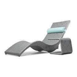 Kenneth Cobonpue - Kenneth Cobonpue Mermaid Chaise Lounge - With a proportionately balanced body type and adjustable reclining back, this outdoor chaise lounge offers endless hours of relaxation.  The material of the chaise lounge is a woven polyethylene fiber over a lightweight aluminum frame.  The chaise is available in three colors: silver, bronze, and white.  There is also a matching side table.  Price includes shipping to the USA.  Manufactured by Kenneth Cobonpue in the Philippines.