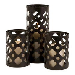 iMax - iMax Norte Cutwork Candle Holders X-3-73365 - Traditional iron cutwork, set of three, candle holders. Single tall holder with a pair of shorter holders Holds pillar candles.