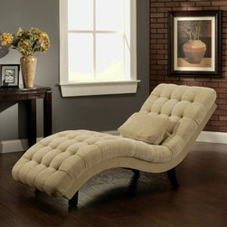 Abbyson Living - Abbyson Living Thatcher Fabric Chaise in Cream - This Chaise have Curved back and seat shaped for comfort, Heavy gauge sinuous wire seat and back springs for comfort, Solid construction, rails are double dowelled, glued and corner blocked for lasting stability.