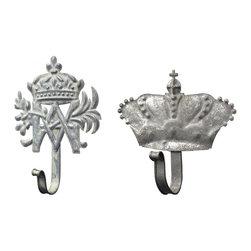 Sterling Industries - Set Of 2 Metal Crown Hooks - SET OF 2 METAL CROWN HOOKS