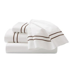 "Home Decorators Collection - Home Decorators Collection Embroidered Sheet Set - Our Embroidered Sheet Set is made of 100% cotton sateen with a 600 thread count. Two lines of embroidery accent the cuffs of the pocket-full flat sheet and pillowcases. The fitted sheet is plain and 18"" deep with full elastic. Sleep soundly night after night and order this exquisite sheet set today. 600 thread count. Fitted sheet is 18"" deep with a full elastic edge. Two-line embroidery on sheet and pillowcase. Twin includes fitted and flat sheet and one standard pillow. Full/Queen includes fitted and flat sheet and two standard pillows. King includes fitted and flat sheet and two king pillows."