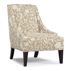Martha Stewart Fabric Living Room Chair, Lansdale Accent - Adding pattern to your room doesn't mean it has to be colorful. If you're partial to neutrals, you can still add a pretty pattern with this vine design in soft colors.