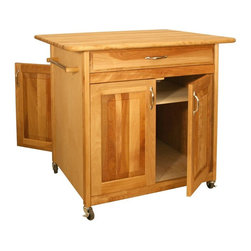 Catskill Craftsmen - Wheeled Kitchen Cart w 4 Doors & Drawer - The - A generously sized work surface and cabinets that are accessible from two sides make this hardwood kitchen island a versatile and functional addition to any space. It features a storage drawer with nickel tone hardware and two towel bars, and is on casters for easy mobility. Made of US hardwood veneer. Oil finish. Adjustable middle shelf. 4 in. Deep drawer with heavy-duty full extension drawer glides. Solid raised panel doors on both sides for easy access. Silver, decorative drawer & door handles. Towel bars and handles on both ends. Locking caster wheels. Overall: 30 in. L x 36 in. W x 34.5 in. H (116 lbs.). Table top: 30 in. L x 36 in. W. Interior drawer: 21.25 in. L x 23.13 in. W x 4 in. H. Interior cabinet: 24 in. L x 27 in. W x 22.25 in. H. Adjustable shelf: 14.75 in. & 17.25 in. from bottomThe Big Island provides an amazing 7.5 sq. ft. of work-top space. The cabinet doors conveniently open from both sides, making the Big Island extremely functional from either direction.
