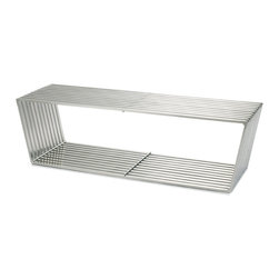 Nuevo Living - Nomiya Bench - Open up your space with distinctive seating. This stainless steel bench boasts a unique rhombus shape and a subtle brushed finish to bring a sense of air and light into your favorite modern setting.