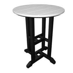 POLYWOOD - POLYWOOD Contempo 24 in. POLYWOOD Round Counter Height Table - RT224FBLAR - Shop for Tables from Hayneedle.com! No matter the season you can count on a pop of outdoor color when the Polywood Contempo 24 in. Polywood Round Dining Table is on your patio. Crafted with easy-to-clean eco-friendly recycled plastic that won't rot or fade this round dining table boasts a black or white base with a paneled top available in 12 colors: aruba black green lemon lime mahogany pacific blue sand sunrise red tangerine teak and white. About Poly-WoodThe advantages of Poly-Wood Recycled Plastic are hard to ignore. Poly-Wood absorbs no moisture and will NOT rot warp crack splinter or support bacterial growth. Poly-Wood is also compounded with permanent UV-stabilized colors which eliminates the need for painting staining waterproofing stripping and resurfacing. This material is impervious to many substances including salt water gasoline paint stains and mineral spirits. In addition every Poly-Wood product comes with stainless steel hardware. Poly-Wood is extremely easy to clean and maintain. Simple soap and water is all you need to get rid of dirt and make your furniture look new again. For extreme cleaning needs you can use a 1/3 bleach and water solution. Most Poly-Wood furnishings are available in a variety of classic colors which allow you to choose your favorite or coordinate with the furniture you already have. This is sure to be a piece that you will be proud to own for a lifetime.