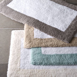 "Horchow - 23"" x 39"" Tuscany Bath Rug - Thick-pile ""Tuscany"" bath rugs have a white center; select border color when ordering. In a choice of two sizes. Made in Portugal of cotton. Machine wash."
