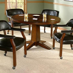 International Concepts - Pedestal Dining Table Set w Set of 4 Vinyl-Up - Set includes 1 Table and 4 Castored Chairs. Smooth veneer table top. Chair upholstered in dark brown vinyl. Made of Birchwood/Vinyl. Antique Cherry finish. Some Assembly Required. Table: 48 in. W x 48 in. L x 36 in. H (73 lbs.). Chair: 23 in. W x 25.5 in. L x 33 in. H (27 lbs.)