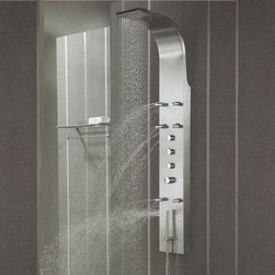 Hudson Reed - Stainless Steel Shower Panel Tower System Massage Spray - This Stainless Steel Thermostatic Shower Panel  features an integral  fixed shower head, six adjustable body  jets and a slim hand shower. The attractive  styling of this modern  thermostatic shower panel will be the centrepiece  of your bathroom -  and deliver a superb shower. Hudson Reed Thermostatic Shower Panel Details   Dimensions: (H x W x D) 65 (1650mm) x 8.7 (220mm) x 3.3 (85mm) Projection from Wall: 18.1 (460mm) Supplied with wall mounting brackets Pencil hand shower Six body jets The valve features an anti-scald device in case of cold water failure Easy to install gpm: 2.5 gpm (9.5 l/min) max. Please note: This shower system requires a minimum water pressure of 15 psi for a superior showering experience Please note: All functions can be used independently, using multiple functions simultaneously may reduce the water flow to the outlets  See how to install our shower panels