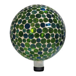 """Alpine Corporation - Lawn Ball - 10"""" Mosaic Gazing Ball - Blue - This mosaic gazing globe utilizes individually hand-blown glass pieces creating a beautiful array of golds and reds along with other colors, making a great addition to any garden area. Place a gazing ball among your perennials, near the rose bushes, or at the end of a pathway. Stand not included."""