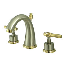 Kingston Brass - Two Handle 8in. to 16in. Widespread Lavatory Faucet with Brass Pop-up - Two Handle Deck Mount, 3 Hole Sink Application, 8in. to 16in. Widespread, Fabricated from solid brass material for durability and reliability, Premium color finish resist tarnishing and corrosion, 1/4 turn On/Off water control mechanism, 1/2in. IPS male threaded shank inlets, Ceramic disc cartridge, 2.2 GPM (8.3 LPM) Max at 60 PSI, Integrated removable aerator, 5-1/2in. spout reach from faucet body, 6in. overall height.