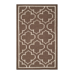 """Safavieh - Montague Dhurrie, Brown / Ivory 2'6"""" X 4' - Construction Method: Hand Woven Flat Weave. Country of Origin: India. Care Instructions: Vacuum Regularly To Prevent Dust And Crumbs From Settling Into The Roots Of The Fibers. Avoid Direct And Continuous Exposure To Sunlight. Use Rug Protectors Under The Legs Of Heavy Furniture To Avoid Flattening Piles. Do Not Pull Loose Ends; Clip Them With Scissors To Remove. Turn Carpet Occasionally To Equalize Wear. Remove Spills Immediately. The classic geometric motifs of Safavieh's flat weave Dhurrie Collection are equally at home in casual, contemporary, and traditional settings. We use pure wool to best recreate the original texture and soft colorations of antique dhurries prized by collectors. The Dhurrie weave is native to India, and every step in our production process faithfully follows the traditions of local artisans. The results are natural, organic and with wonderful nuances in pattern and tone."""